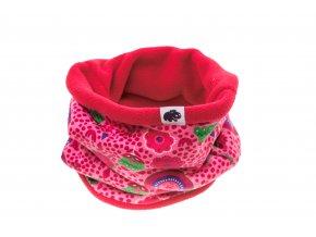 Kojenecký zateplený nákrčník Tulipán růžová.Oblečení pro miminka, kojenecké soupravy, body, tepláčky, bundy, polodupačky, čepice. Růžová čepice a nákrčník. Roztomilý motiv.Vyrobeno v Česku z té nejkvalitnější bavlny.D