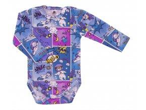 Kojenecké body Hippokids Vesmír modrá. Body s dlouhým rukávem s bavlněnými kvalitními tepláčky pro děti. Oblečení pro miminka a pro děti. Česká výroba oblečení. Body, tepláčky, soupravy, kalhoty, bundy.
