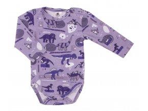 Kojenecké body Hippokids Dino šedá.Body s dlouhým rukávem pro děti.Kvalitní oblečení pro miminka a pro děti. Body s dinosaury. Česká výroba oblečení. Body,tepláčky,soupravy,kalhoty, bundy.