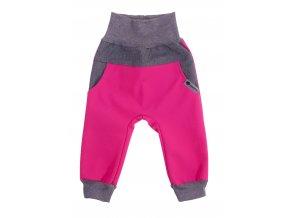 Zimní softshellové kalhoty Baby color růžová. Dětské a kojenecké zimní softshellové kalhoty na zimu podzim i jaro.Zateplené fleesem.Barevné kalhoty na doma, na ven i do města. Oblečení pro děti pro miminka.