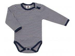 Oblečení pro miminka, kojenecká souprava Stripe. Tmavě modré proužkované body s dlouhým rukávem společně s šedými polodupačkami s rostoucími ohrnovacími náplety tvoří krásnou kombinaci soupravy. Body.
