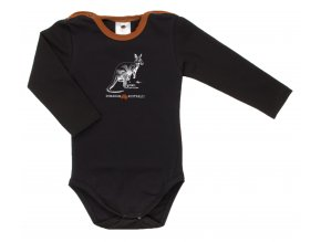Kojenecké body s dlouhým rukávem Pomoc Austrálii s klokanem. Oblečení pro miminka, kojenecké a dětské oblečení. klokan s mládětem. Dlouhý rukáv, černé body s hořčicovým lemem.