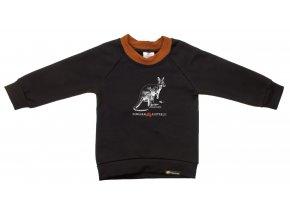 Kojenecá mikina s dlouhým rukávem Pomoc Austrálii s klokanem. Oblečení pro miminka, kojenecké a dětské oblečení. klokan s mládětem. Dlouhý rukáv, černá mikina s hořčicovým lemem.