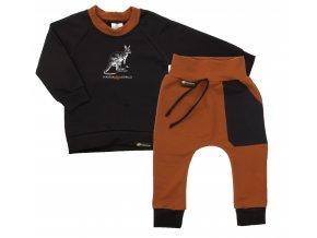 Souprava mikina s dlouhým rukávem a tepláčky Pomoc Austrálii s klokanem. Oblečení pro miminka, kojenecké a dětské oblečení. klokan s mládětem. Dlouhý rukáv, černá mikina s hořčicovým lemem.
