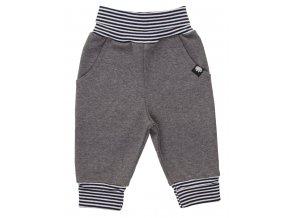 Oblečení pro miminka, kojenecká souprava Stripe. Tmavě modré proužkované body s dlouhým rukávem společně s šedými polodupačkami s rostoucími ohrnovacími náplety tvoří krásnou kombinaci soupravy. Tepláčky.