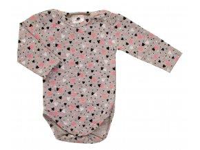 Kojenecká souprava Hippokids Srdíčko. Body s dlouhým rukávem s bavlněnými kvalitními tepláčky pro děti. Oblečení pro miminka a pro děti. Česká výroba oblečení. Body se srdíčky a růžovými tepláčky. Body.