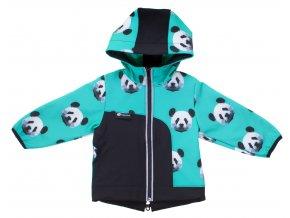 Oblečení pro miminka, kojenecké a dětské oblečení. Softshellová bunda s fleesem. Zimní softshellová bunda Panda. Mentolová barva s černou a bílo černými pandami na naší dětské bundě.
