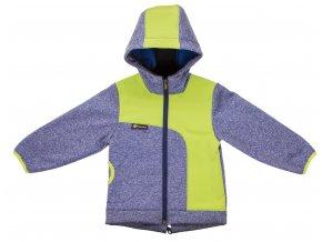 Zimní softshellová bunda Melír. Kojenecké a dětské oblečení, oblečení pro miminka. Softshellová bunda v modré barvě s neonově žlutou. Reflexní zip, kapuce, funkční kapsa. Moderní a kvalitní oblečení pro děti.