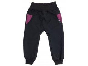 Dětské tenké softshellové kalhoty Hippokids Baby růžová. Jarní softshellové kalhoty pro děti a pro kojence. Softshell pro deštivé počasí. Oblčení pro děti a pro miminka. Černý softshell, černé kalhoty, jarní soft.