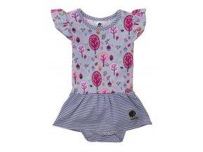 Kojenecké body šaty Les růžová. oblečení pro miminka a pro děti. Letní oblečení. Šaty s patentkama. Lehké letní oblečení pro vaši holčičku. Růžovo šedý komplet. Kanýrky na rukávku.