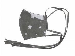 Roušky. Sterilní bavlněné roušky na více použití. Dospělé i dětské roušky ihned k odeslání. Koronavir, roušky, respirátor, zdravotní pomůcky. Ochranná rouška. Hvězdy, star, šedá, hnědá. Dostupné roušky. Detail (2)