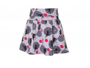 Dívčí sukně Víla. Dětské a kojenecké oblečení Letní sukně s ohrnovacím pase. Růžovo šedá sukně s černýma vílama. Točící se sukýnka na léto. Dětská a kojenecká sukně. Dívčí, holčičí, holka, pohodlná sukně.
