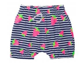 Kojenecké kraťasy Jahoda. Oblečení pro miminka a pro děti. Kojenecké a dětské oblečení. Letní oblečení. Pruhované kraťasy s růžovými jahodami. Ozdobná tkanička. Holčíčí kraťasy.