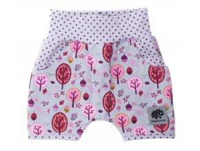 Kojenecké kraťasy Les růžová. Oblečení pro miminka a pro děti. Letní kraťasy z příjemné bavlny. Kojenecké a dětské zboží. Oblečení. Letní oblečení. Funkční kapsy. Růžové kraťasy.