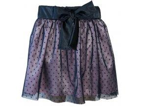 Dívčí tylová TUTU sukně Puntík modrá. Růžový samet s tmavě modrým tylovým puntíkem. Sametový modrý pas s mašličkou. Dívčí letní sukně. Oblečení pro miminka. Oblečení pro miminka. Růžovo modrá sukně.