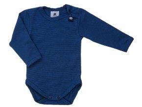 Kojenecké body s dlouhým rukávem Retro tmavě modrá. Kojenecké a dětské body. Oblečení pro děti. Oblečení pro miminka. Pro kluky a pro holky. Proužkované body. Body. Neutrální. Modré proužkované bodyčko.