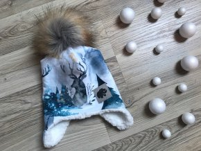 Dětská ušanka Zimní les