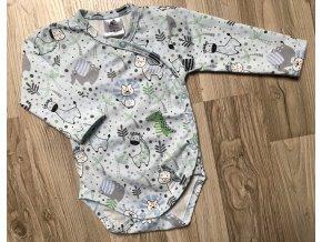 Dětské a kojenecké body s dlouhým rukávem Krokodýl modrá. Zavinovací body s dlouhým rukávem. Klučičí zavinovací body. Oblečení pro miminka. Oblečení pro děti. Dětské a kojenecké oblečení. Kvalitní české oblečení.