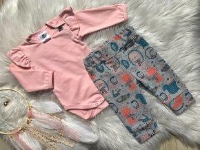 Kojenecká souprava s dlouhým rukávem Mašle růžová. Šedé body s růžovými tepláčky a střébrným puntíkem. Oblečení pro miminka. Oblečení pro děti. Dětské a kojenecké oblečení. Kvalitníčeské oblečení. Kanýr.