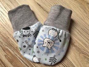 Kojenecké rukavice pro miminka Krokodýl modrá. Bavlněné rukavice. Bavlněné šedé náplety. Rukavice proti škrábání. Neutrální rukavice. Pro děti a kojence. Oblečení pro miminka. Oblečení pro děti.