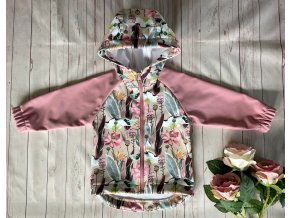 Dívčí softshellová bunda květy. Zimní bunda. Oblečení pro miminka. Dětské oblečení. Hippokids. Růžová. Šedá. Motiv květin.