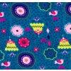 Dívčí legíny Hippokids Tulipán modrá. Kojenecké a dětské legny z bavlny. Oblečení pro miminka, kojenecké soupravy, body, tepláčky, bunda a kalhoty. Vyrobeny v Česku. Motiv květy, kytky, květiny. Detail.