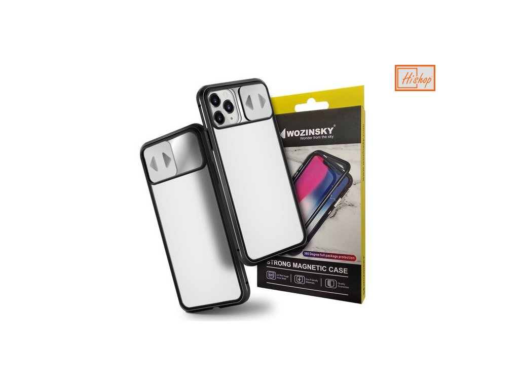 pol pm Wozinsky Magnetic Cam Slider Case magnetyczne etui 360 na caly telefon szklo na ekran oslona na aparat iPhone 11 Pro czarny 61804 1