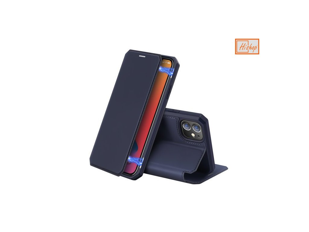 pol pm DUX DUCIS Skin X kabura etui pokrowiec z klapka iPhone 12 mini niebieski 62038 1