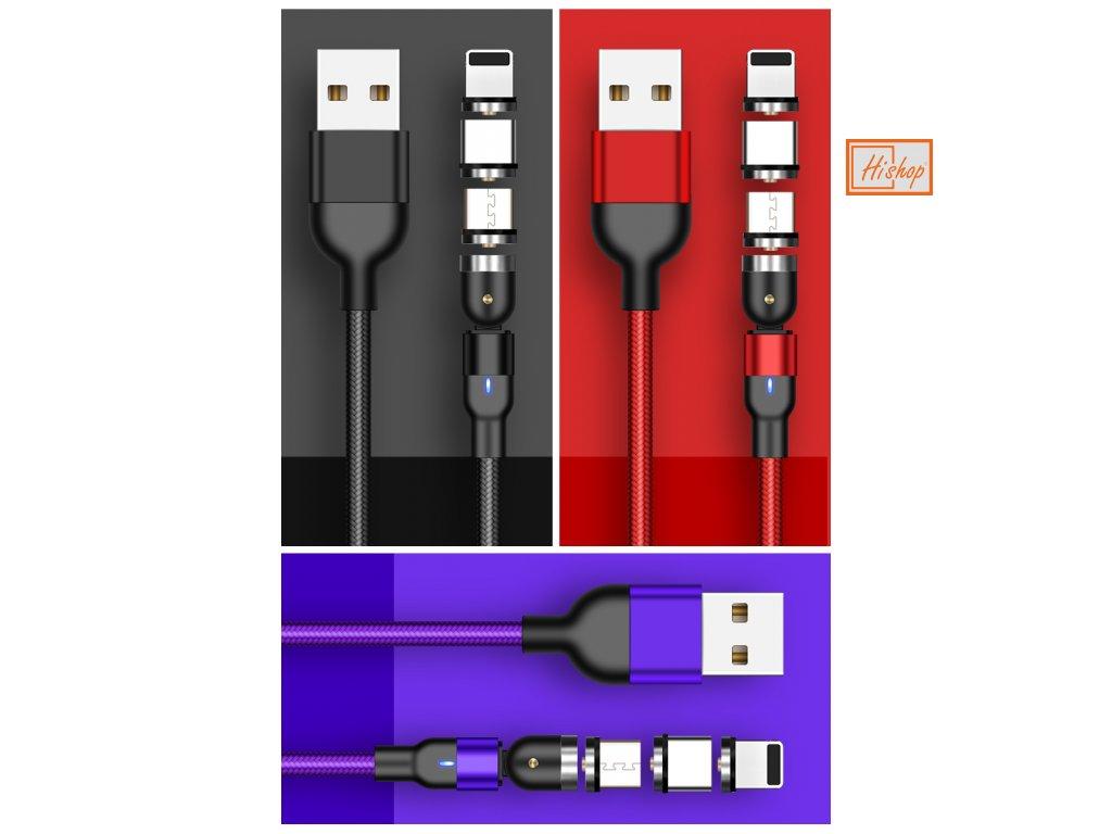 Univerzální opletený víceúhlý USB datový kabel GreenPort micro USB nabíjecí kabel podporující všechny chytré telefony