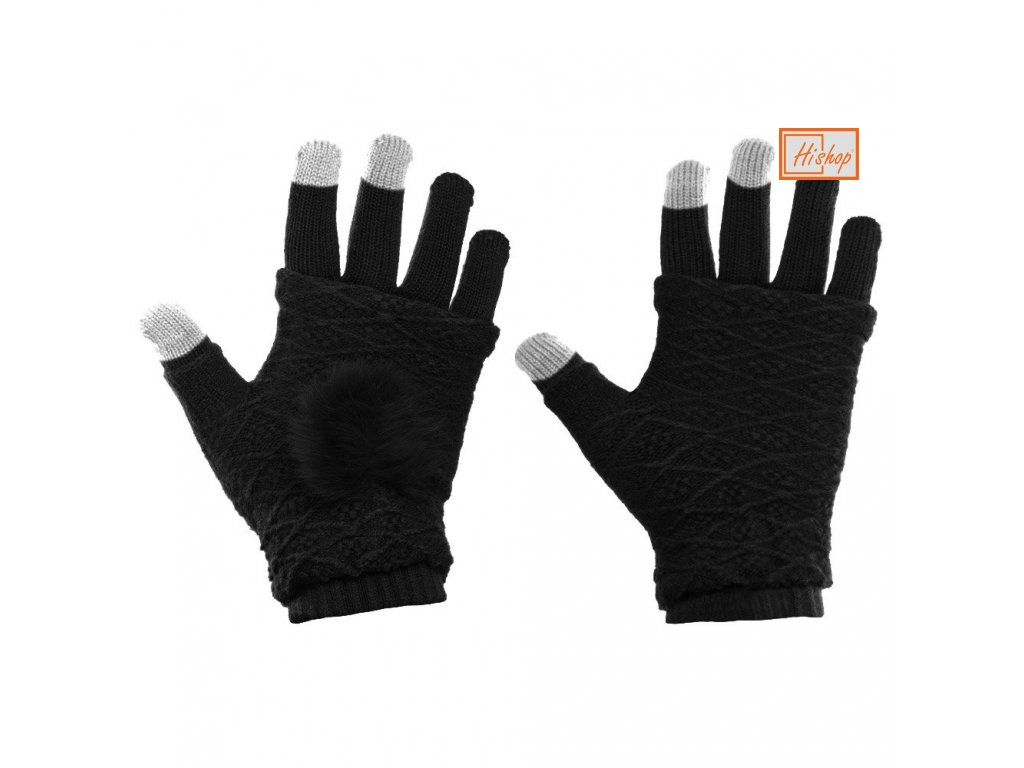 eng pl Touchscreen Winter Gloves 2in1 Striped and Fingerless Gloves Wrist Warmers black 27072 12