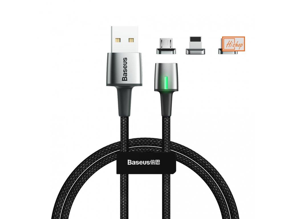eng pl Baseus Zinc magnetic USB cable plug set Lightning USB Type C micro USB 3A 1m black TZCAXC A01 55552 26