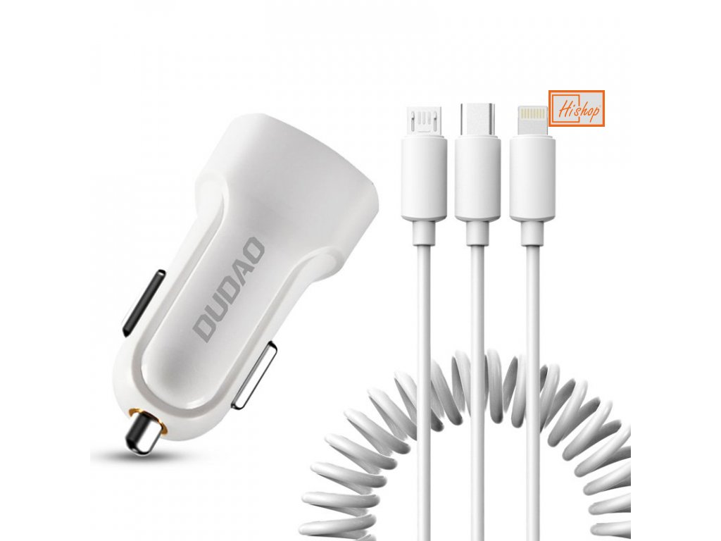 eng pl Dudao car kit 2x USB 2 4A charger 3in1 Lightning Type C micro USB cable white R7 white 55635 1
