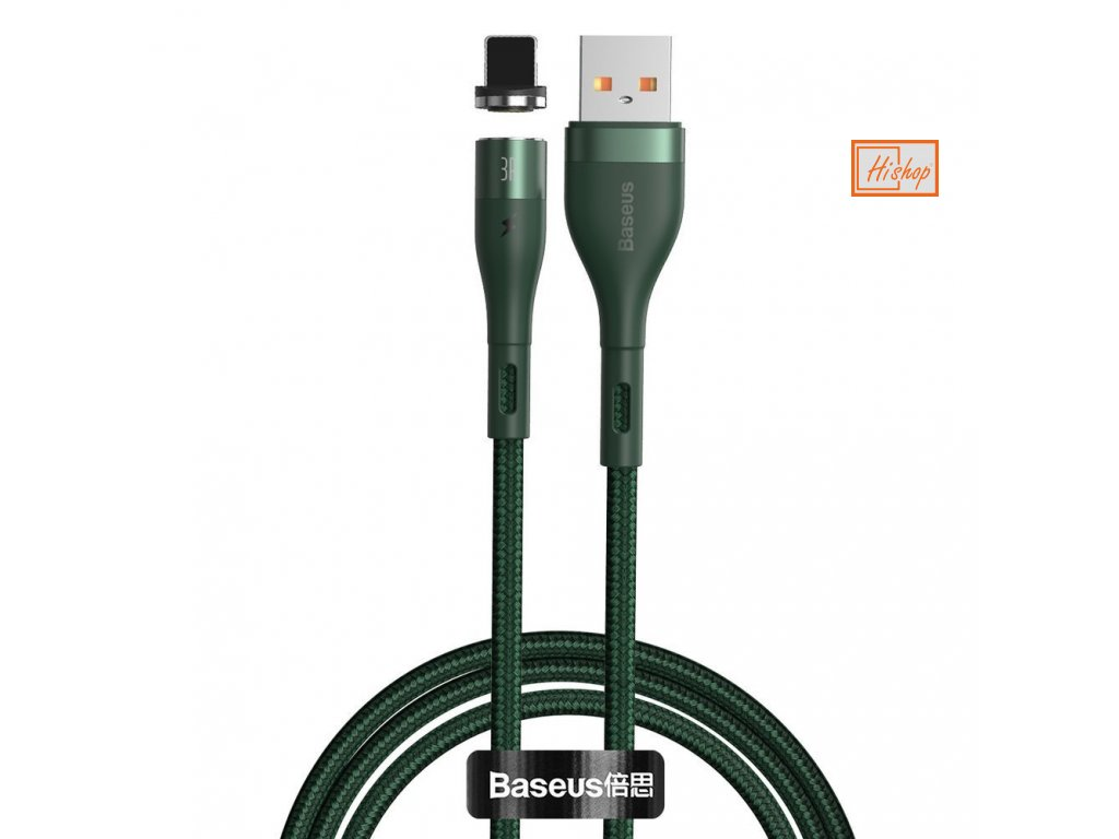 eng pl Baseus Zinc USB Lightning magnetic data charging cable 1 m 2 4 A green CALXC K06 63482 1