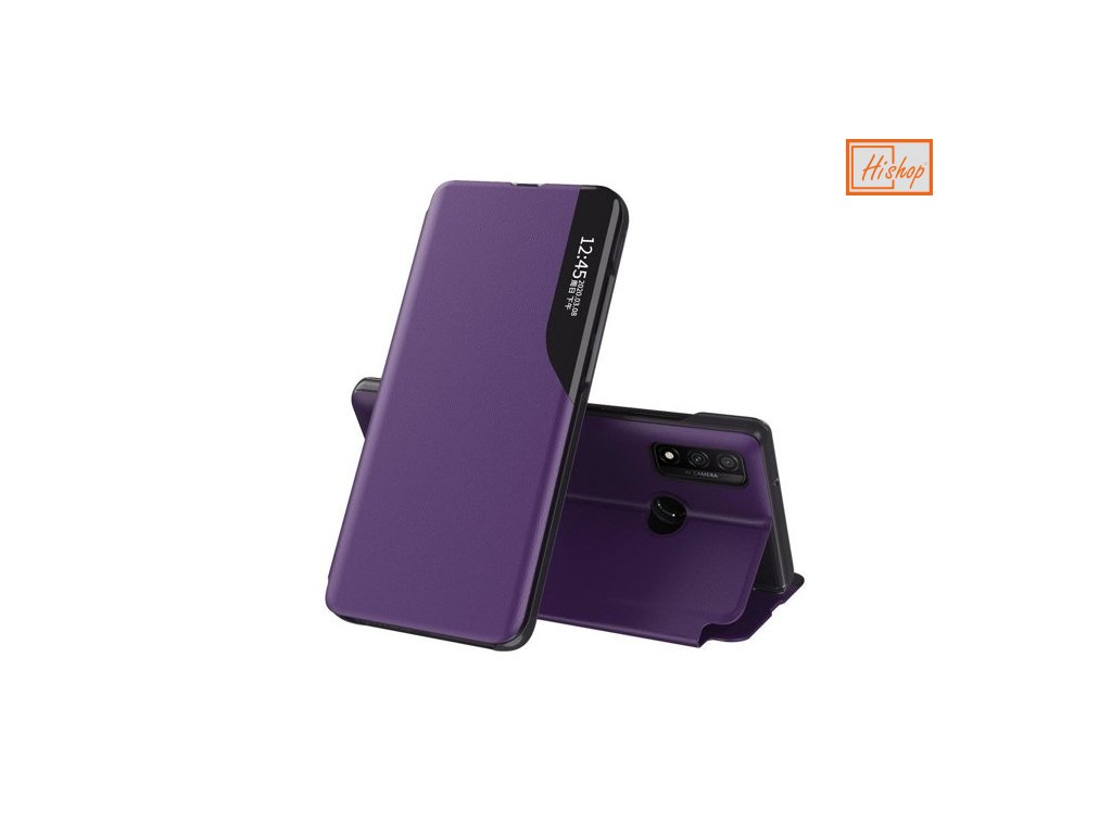 eng pm Eco Leather View Case elegant bookcase type case with kickstand for Huawei P40 Lite purple 63645 1