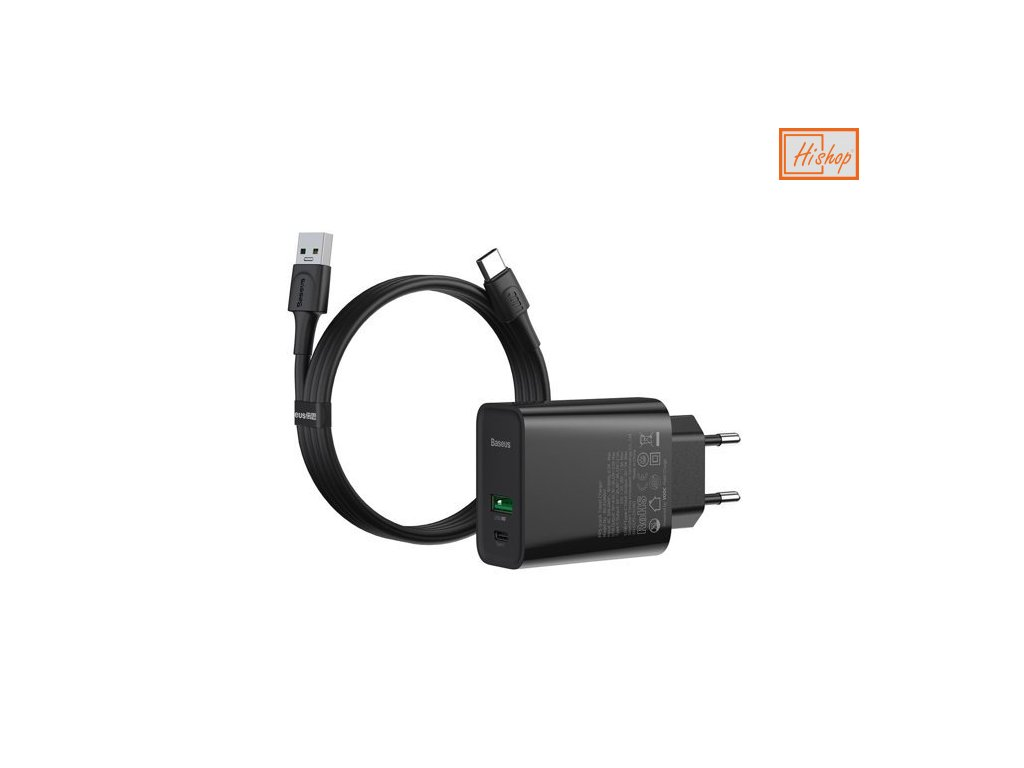 eng pm Baseus USB USB Typ C fast wall charger VOOC Quick Charge 4 0 Power Delivery 3 0 USB USB Type C cable 1m black TZCCFS H01 60864 8