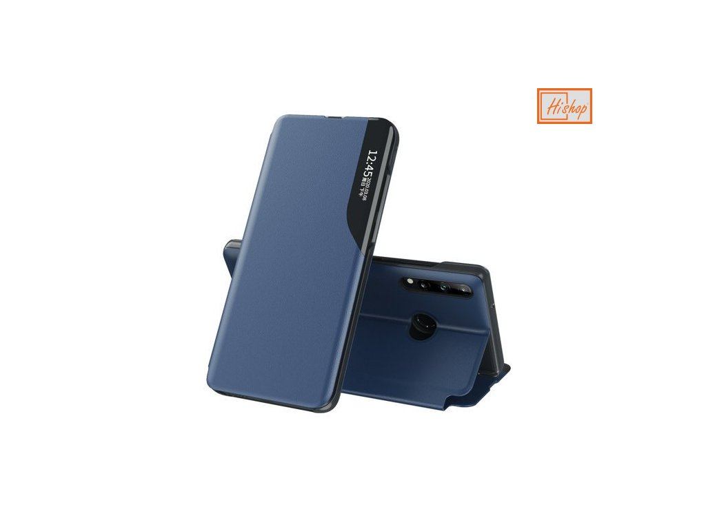 eng pm Eco Leather View Case elegant bookcase type case with kickstand for Huawei P40 Lite E blue 63648 1