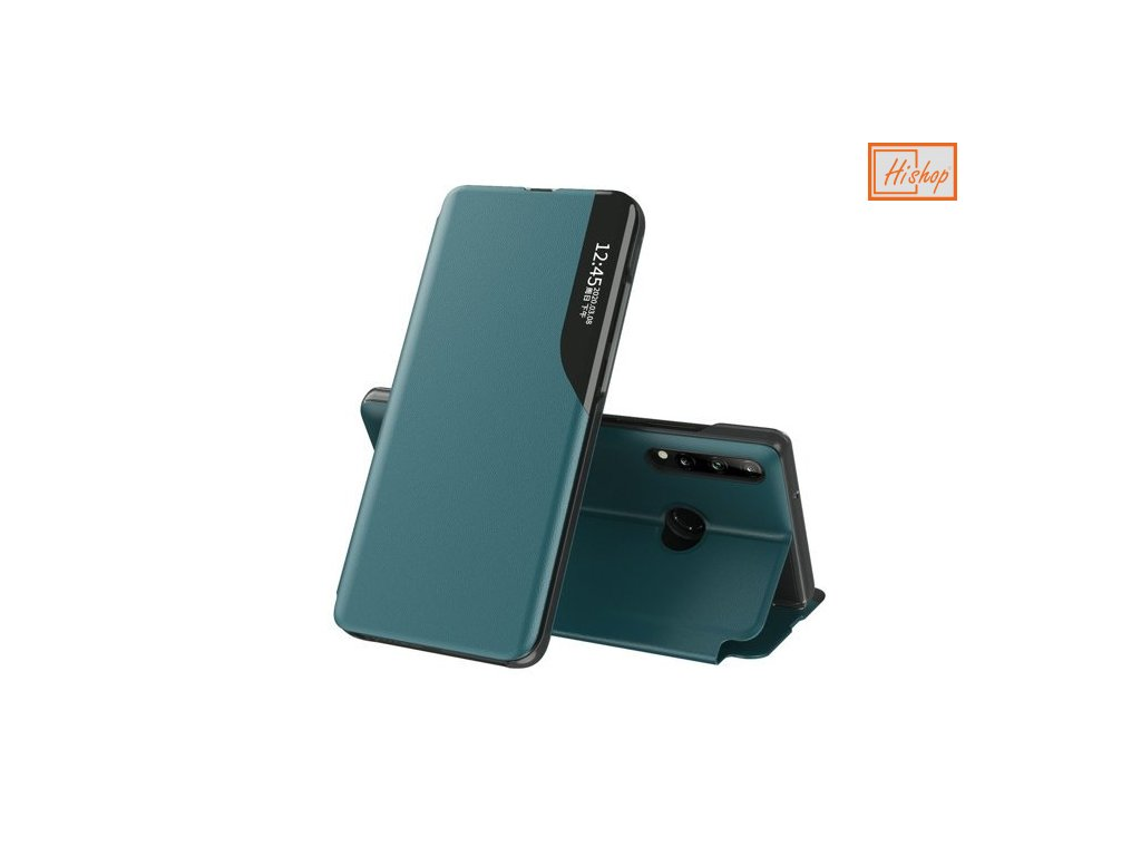 eng pm Eco Leather View Case elegant bookcase type case with kickstand for Huawei P40 Lite E green 63649 1