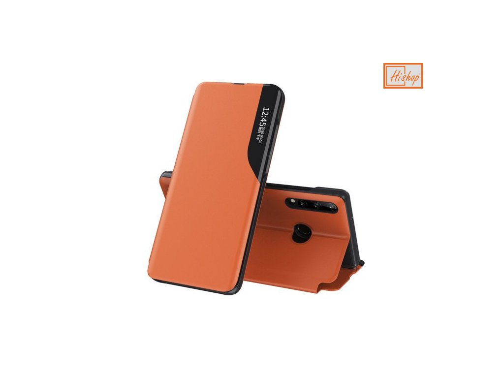 eng pm Eco Leather View Case elegant bookcase type case with kickstand for Huawei P40 Lite E orange 63650 1