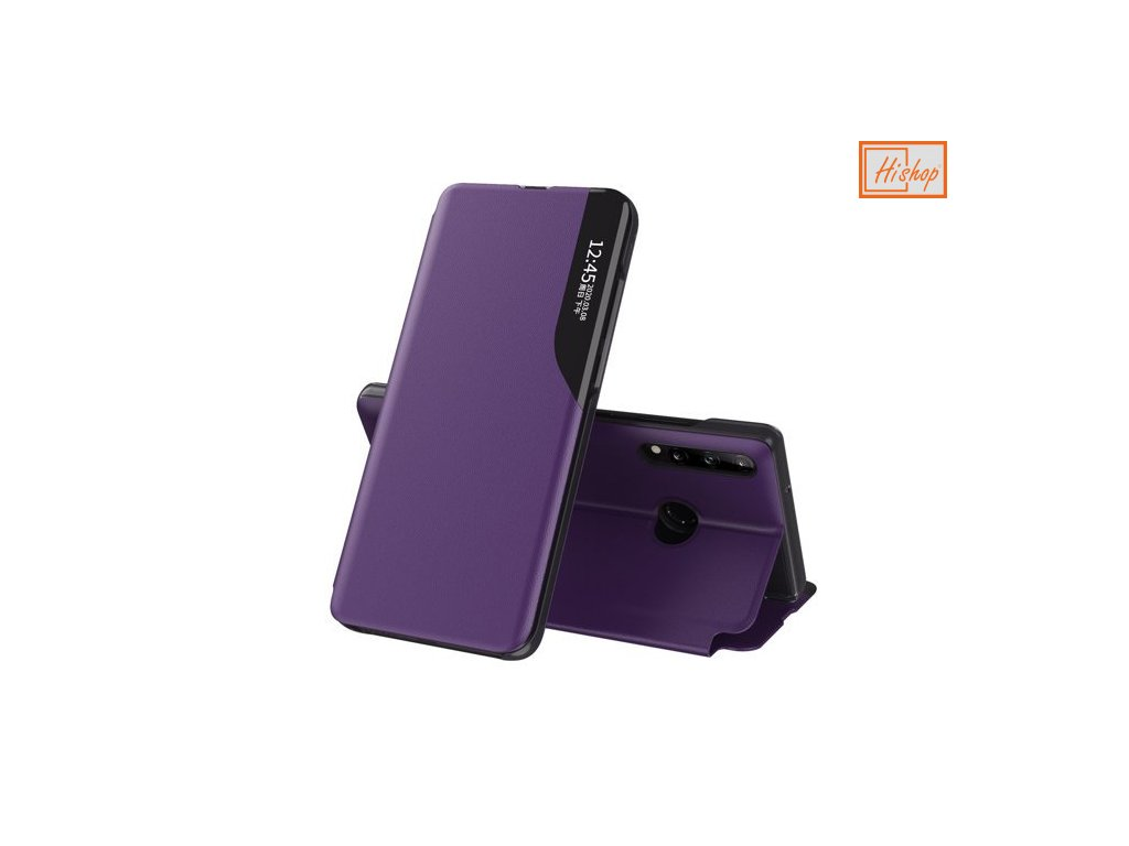 eng pm Eco Leather View Case elegant bookcase type case with kickstand for Huawei P40 Lite E purple 63651 1