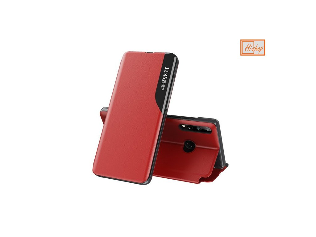 eng pm Eco Leather View Case elegant bookcase type case with kickstand for Huawei P40 Lite E red 63652 1