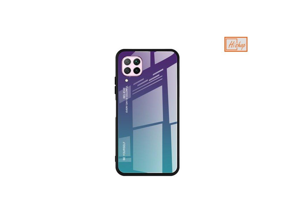pol pm Gradient Glass etui pokrowiec nakladka ze szkla hartowanego Huawei P40 Lite Nova 7i Nova 6 SE zielono fioletowy 60544 1