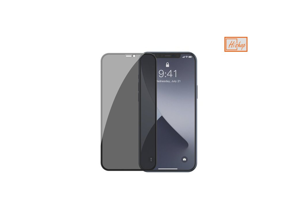 eng pm Baseus 2x Full screen 0 3 mm Anti Spy Light tempered glass with a frame iPhone 12 mini Black SGAPIPH54N TG01 64123 1