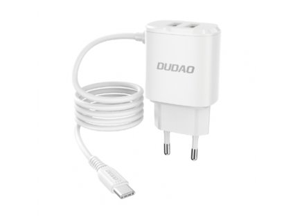 eng ps Dudao 2x USB wall charger with built in USB Type C 12 W cable white A2ProT white 63722 1
