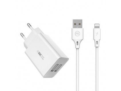 eng pm WK Design wall charger travel adapter 2x USB 2 A USB Lightning cable 1 m white WP U56 Lighting white 61790 1