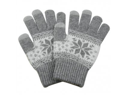 eng pl Universal Touchscreen Gloves Striped Gloves with Charming Winter Pattern light grey 27352 1