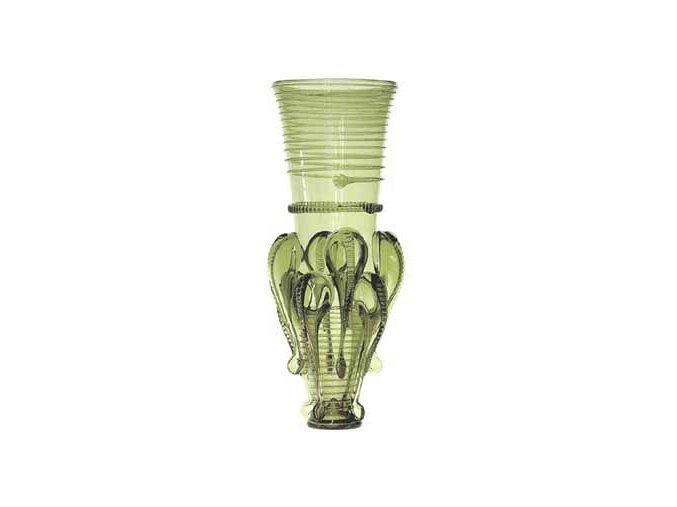 velká sklenice Rüsselbecher ze zeleného skla