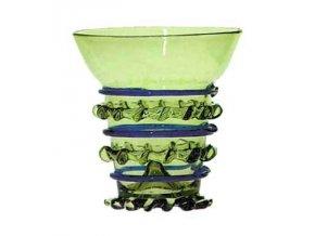 zelené sklo, číše s lemovanými žebry