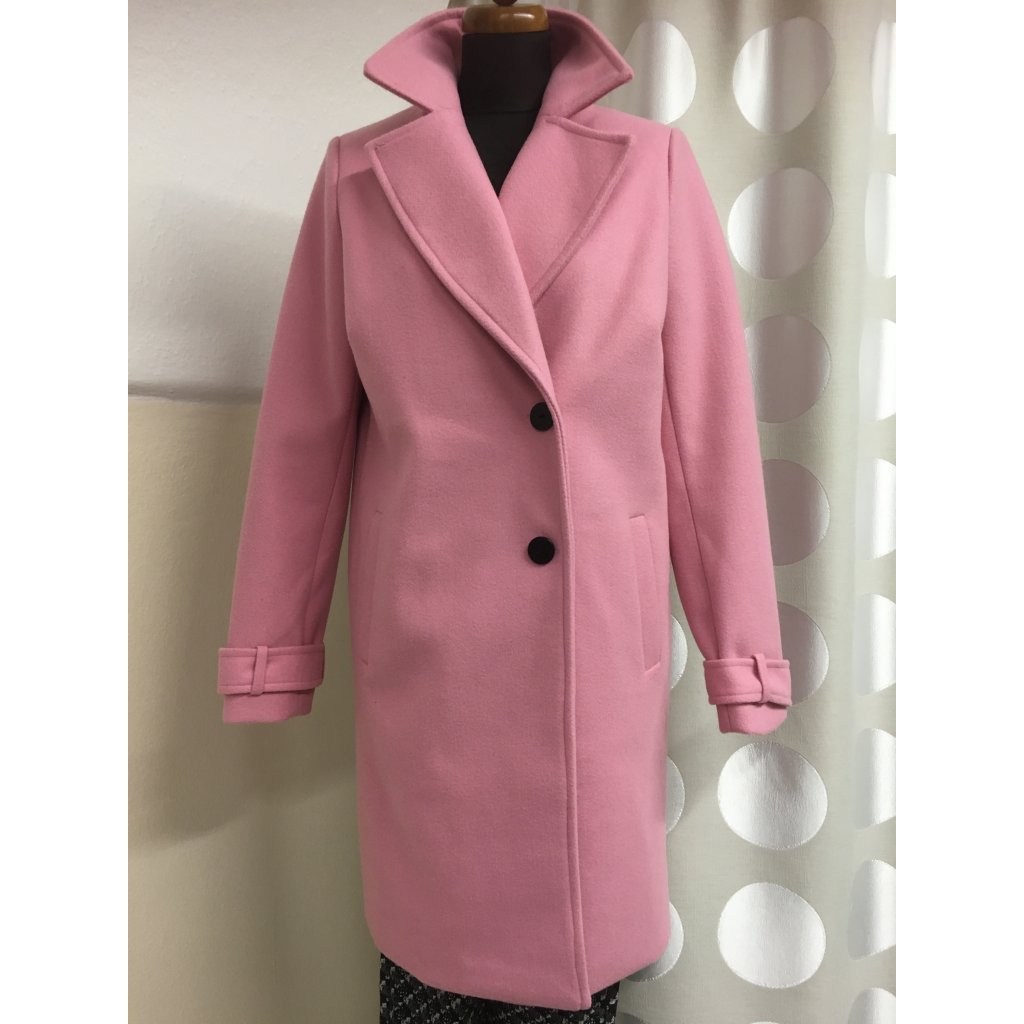 Kabát flauš růžový, světle modrý