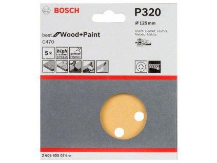 Bosch brusný papír 2608605074 - 5 ks
