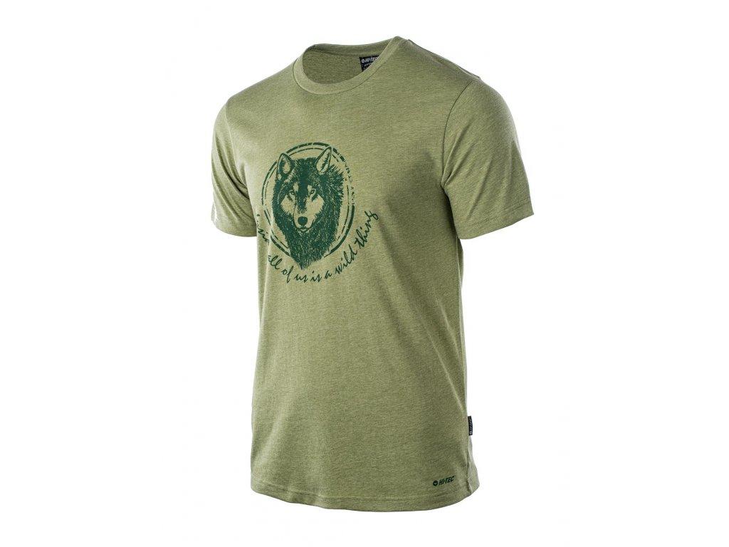 hi tec lupus tricko triko panske bavlna kratky rukav zelene